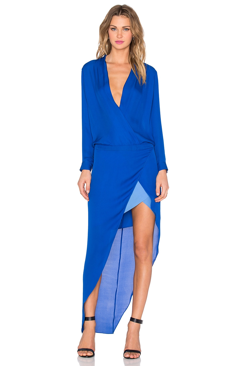 Michelle Mason Long Sleeve Contrast Slip Gown in Blue