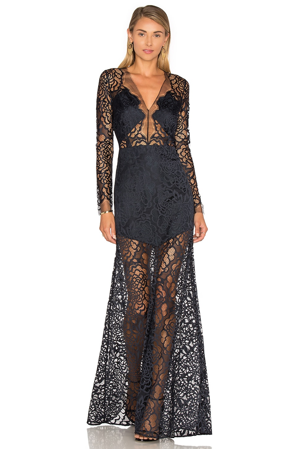 Michelle Mason Long Sleeve Lace Gown in Midnight