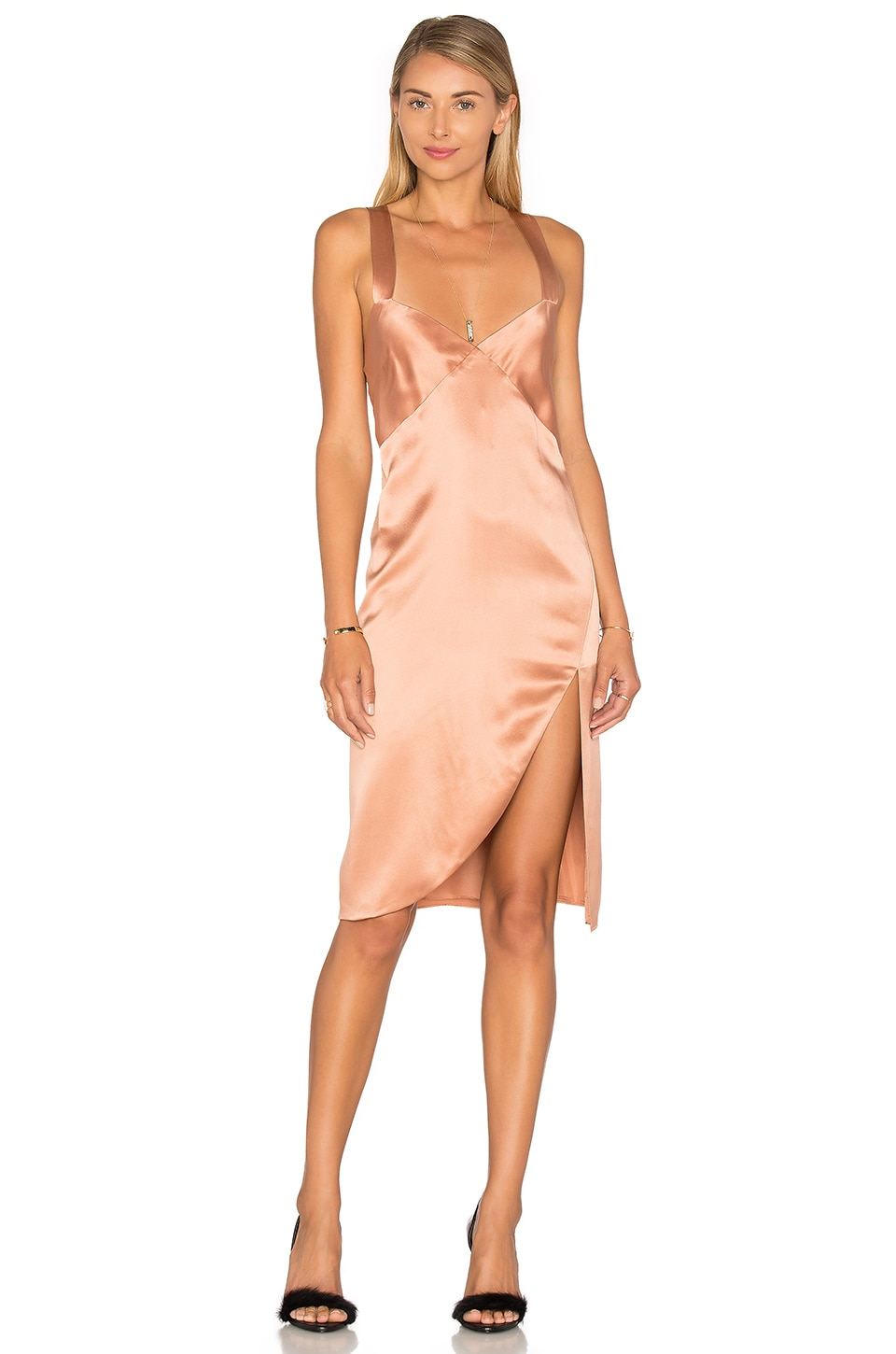 Michelle Mason Cross Back Slip Dress in Terracotta