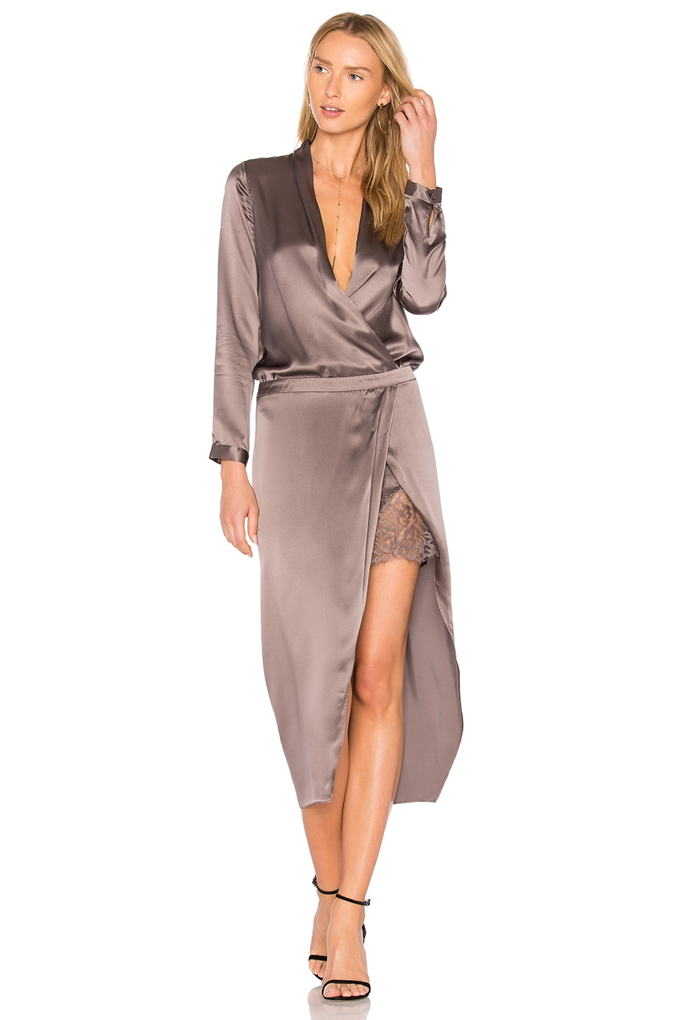 Michelle Mason Wrap Dress in Truffle