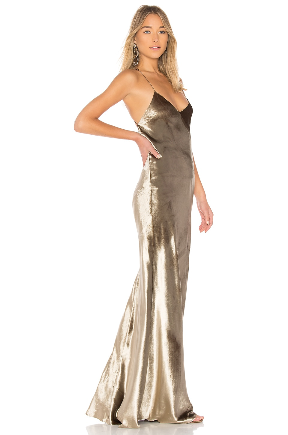 Michelle Mason Bias Maxi Dress in Antique Gold