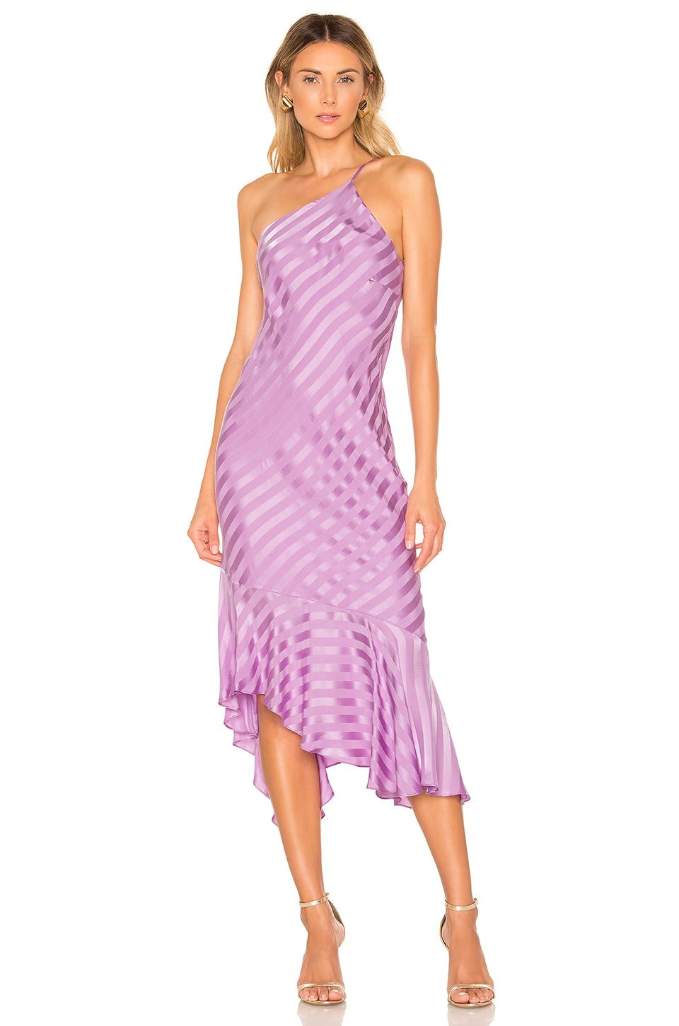 Michelle Mason Dresses MICHELLE MASON ONE SHOULDER RUFFLE HEM DRESS IN LAVENDER.