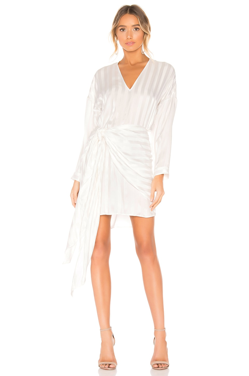 Michelle Mason Dresses MICHELLE MASON LONG SLEEVE MINI WRAP DRESS IN WHITE.