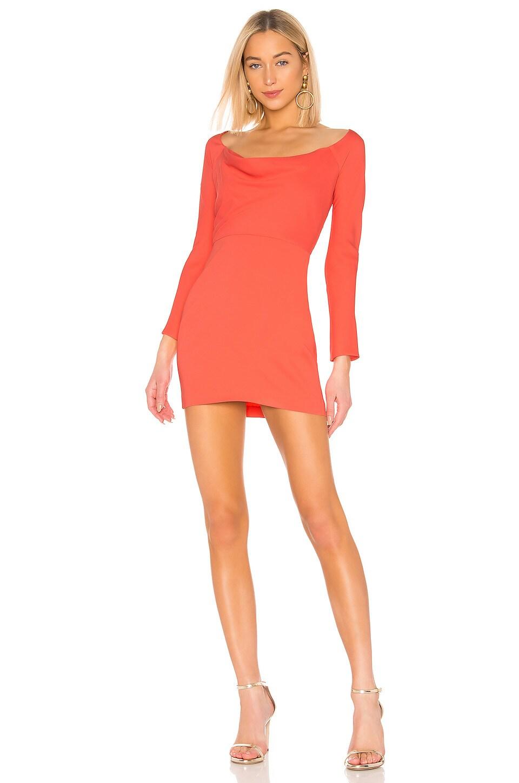 Michelle Mason Off Shoulder Cowl Mini Dress in Watermelon