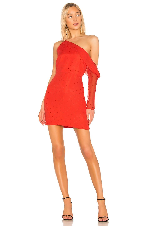 Michelle Mason Asymmetrical Sleeve Mini Dress in Watermelon