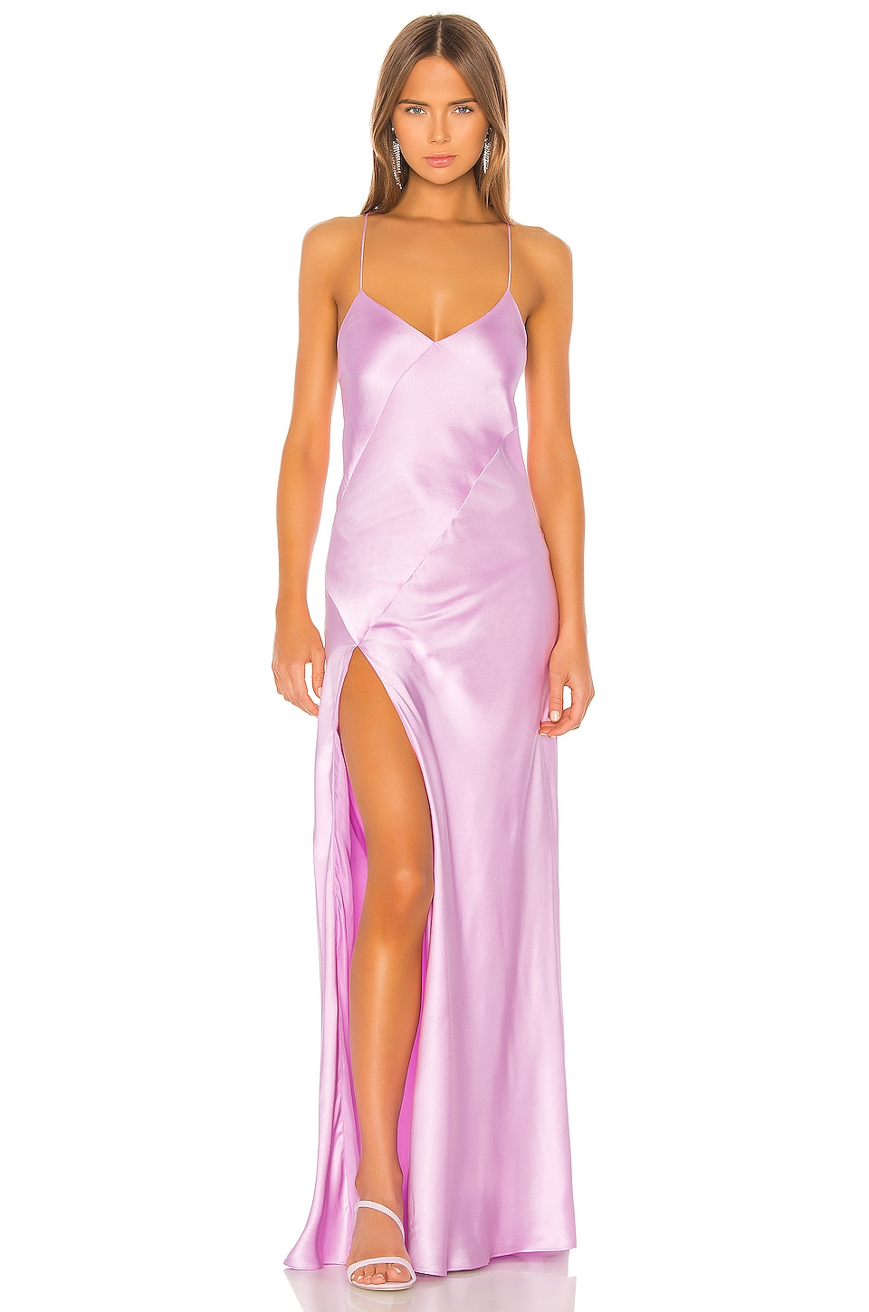Michelle Mason Bias Gown With Slit in Bubblegum