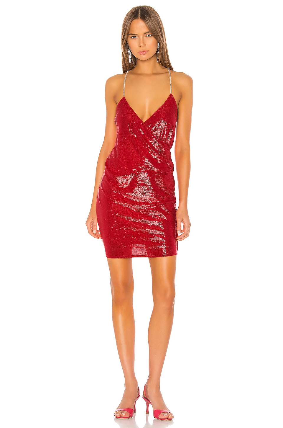 Michelle Mason Mini Dress with Crystal Straps in Red