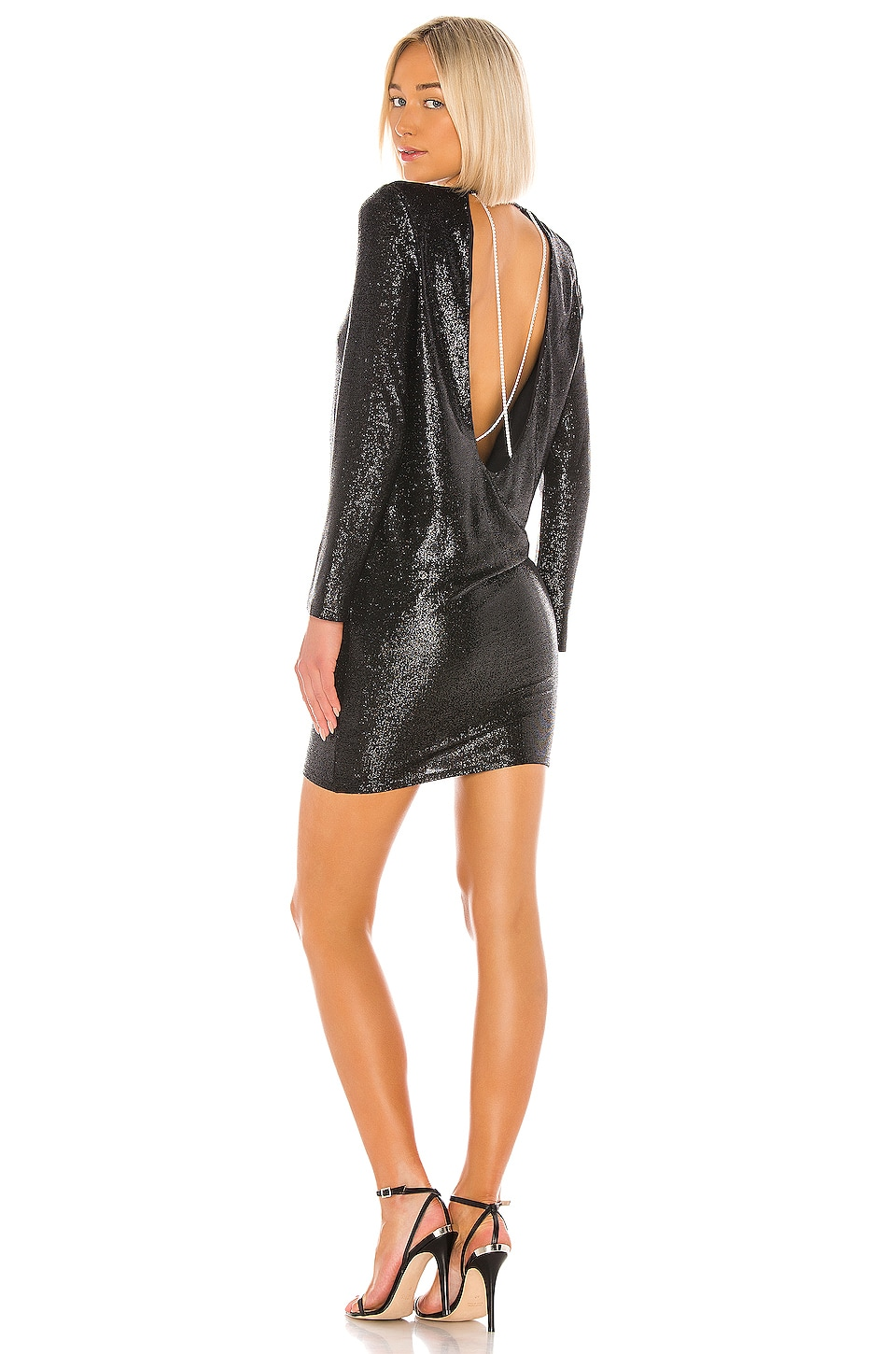 Michelle Mason Long Sleeve Mini Dress with Crystals in Black