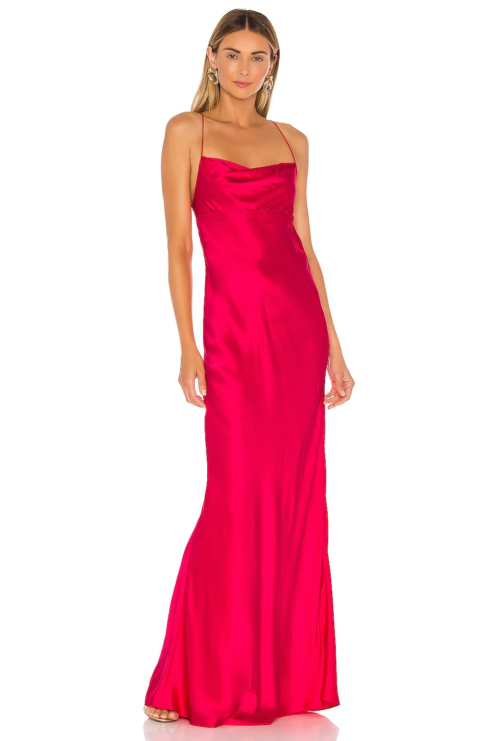 Michelle Mason Cowl Bias Gown in Peony