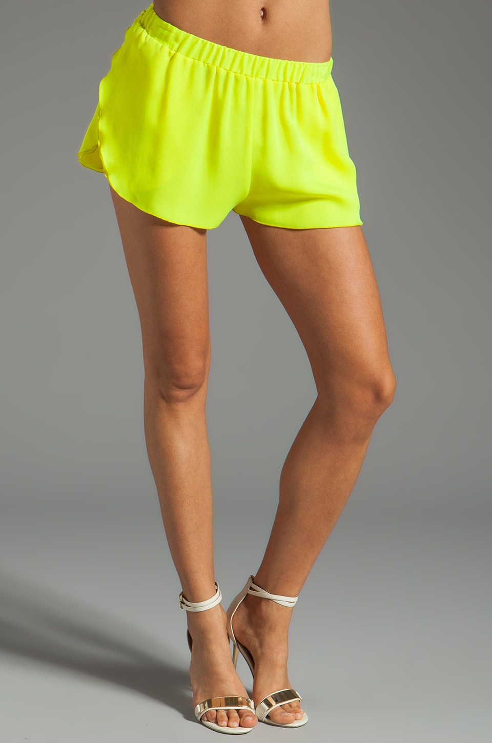 Michelle Mason Tulip Hem Shorts in Citron