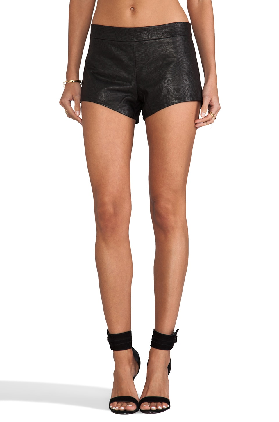 Mason by Michelle Mason Leather Front Shorts in Black