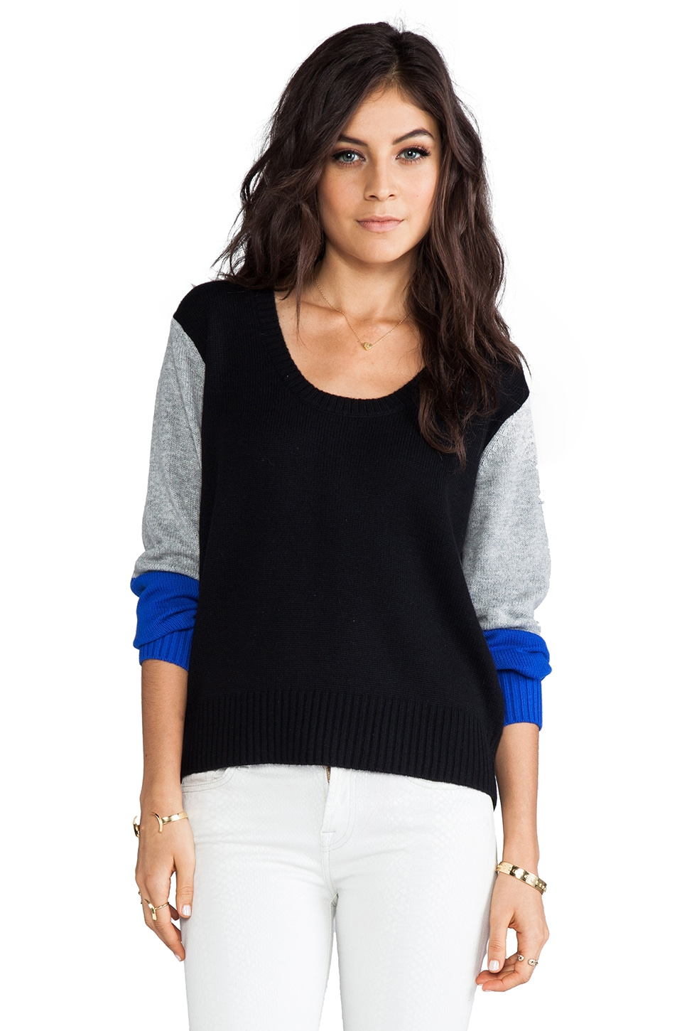 Michelle Mason Combo Pullover in Black