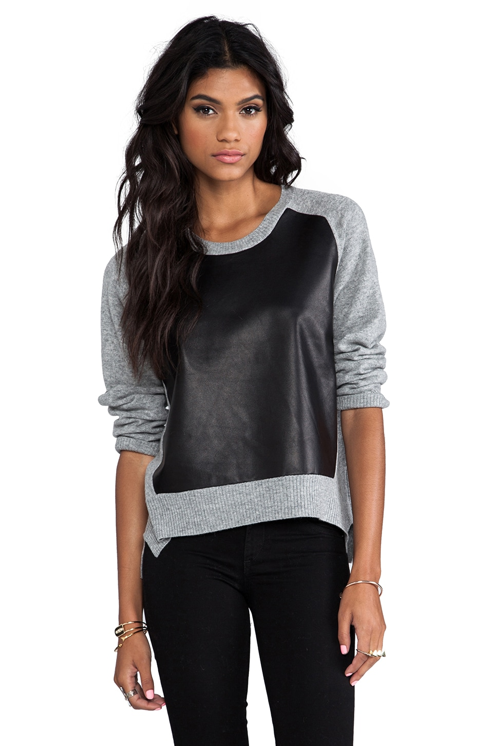 Michelle Mason Leather Front Sweater in Grey