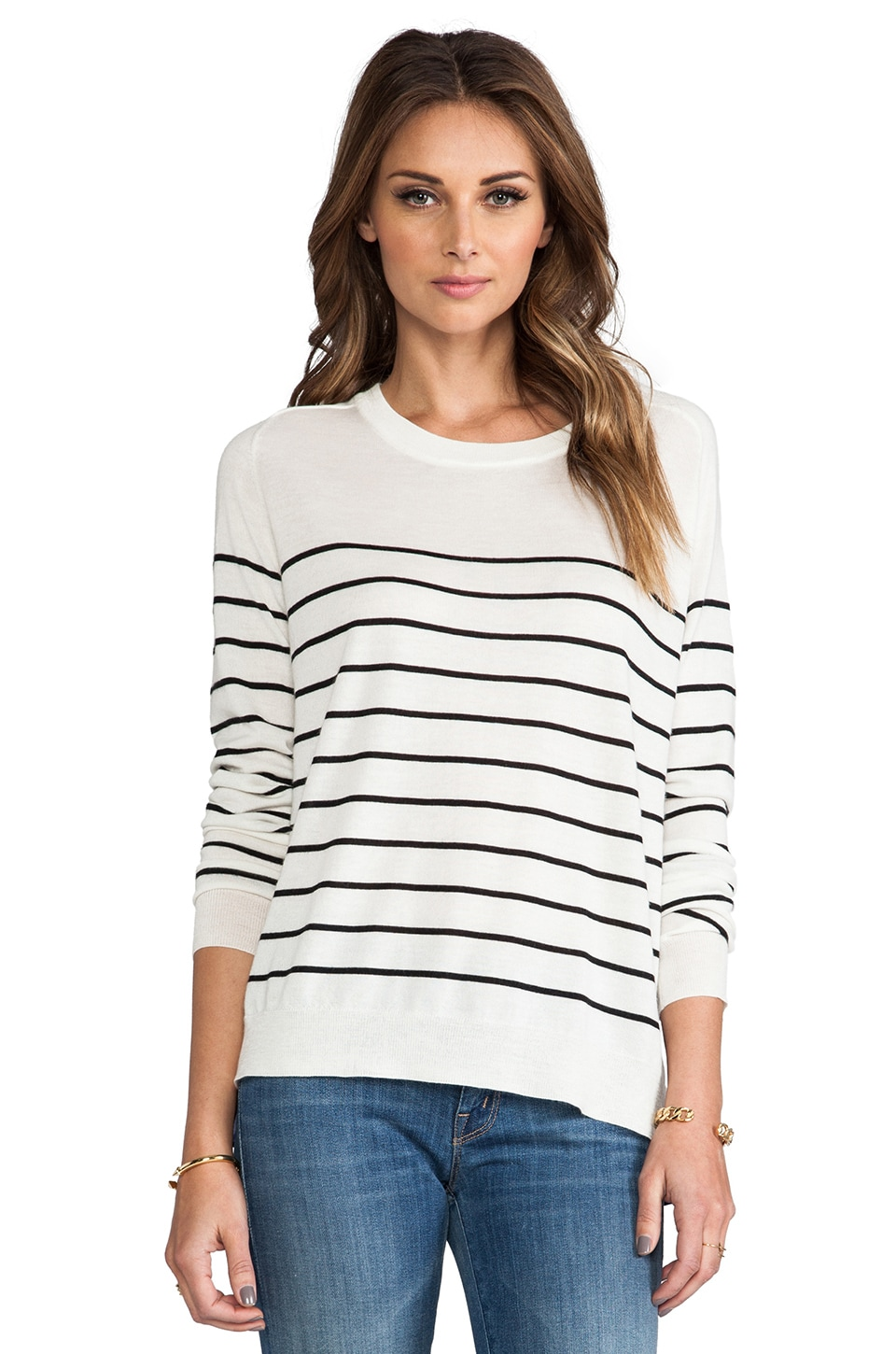 Michelle Mason Silk Detail Sweater in Ivory Stripe & Royal