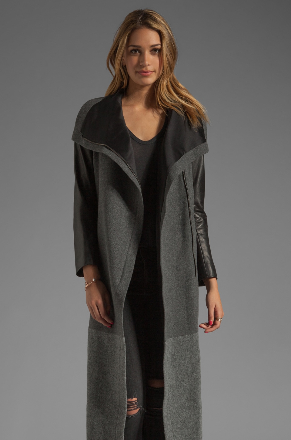 Mason by Michelle Mason Dual Tone Coat in Charcoal/Grey