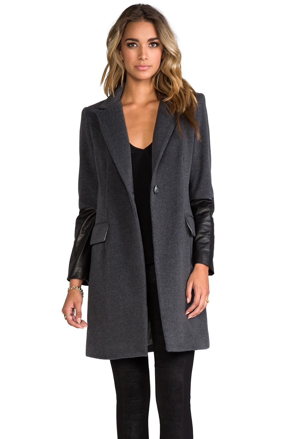 Michelle Mason Leather Sleeved Coat in Grey