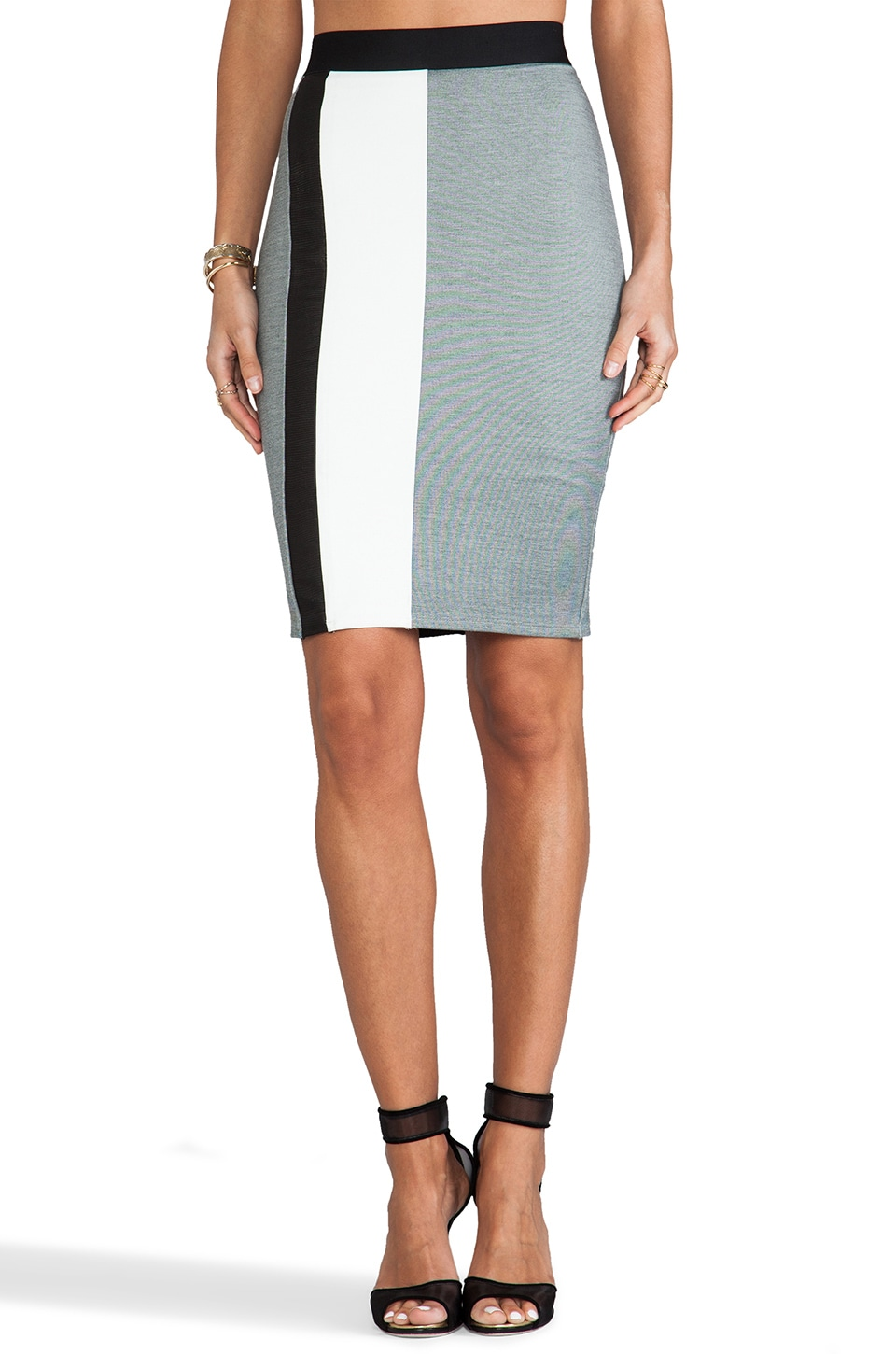Michelle Mason Pencil Skirt in Grey Combo