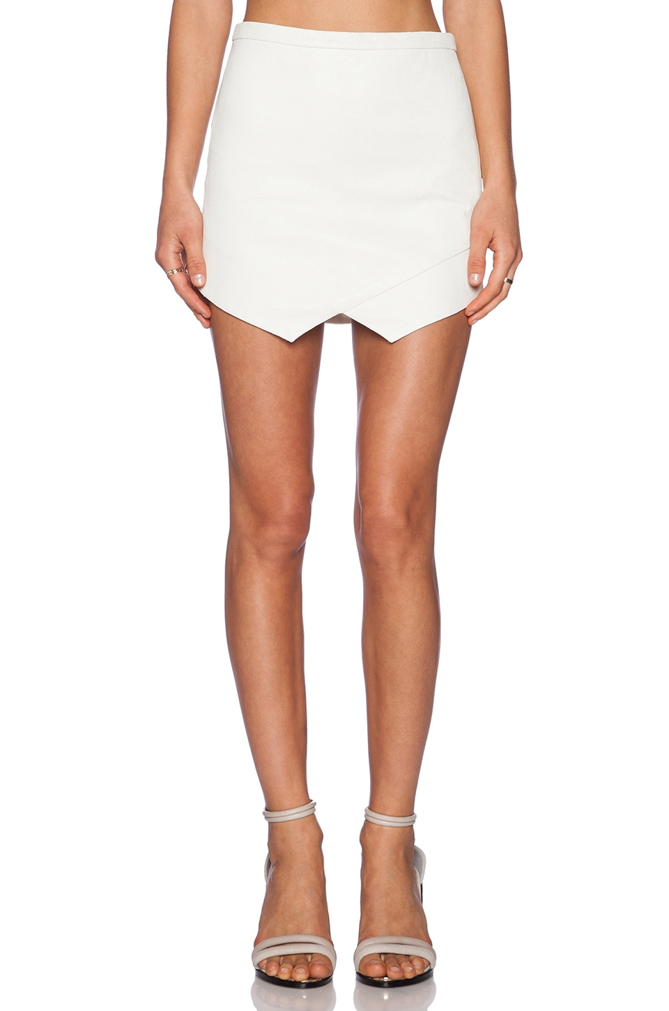 Michelle Mason Leather Front Skirt in Ivory