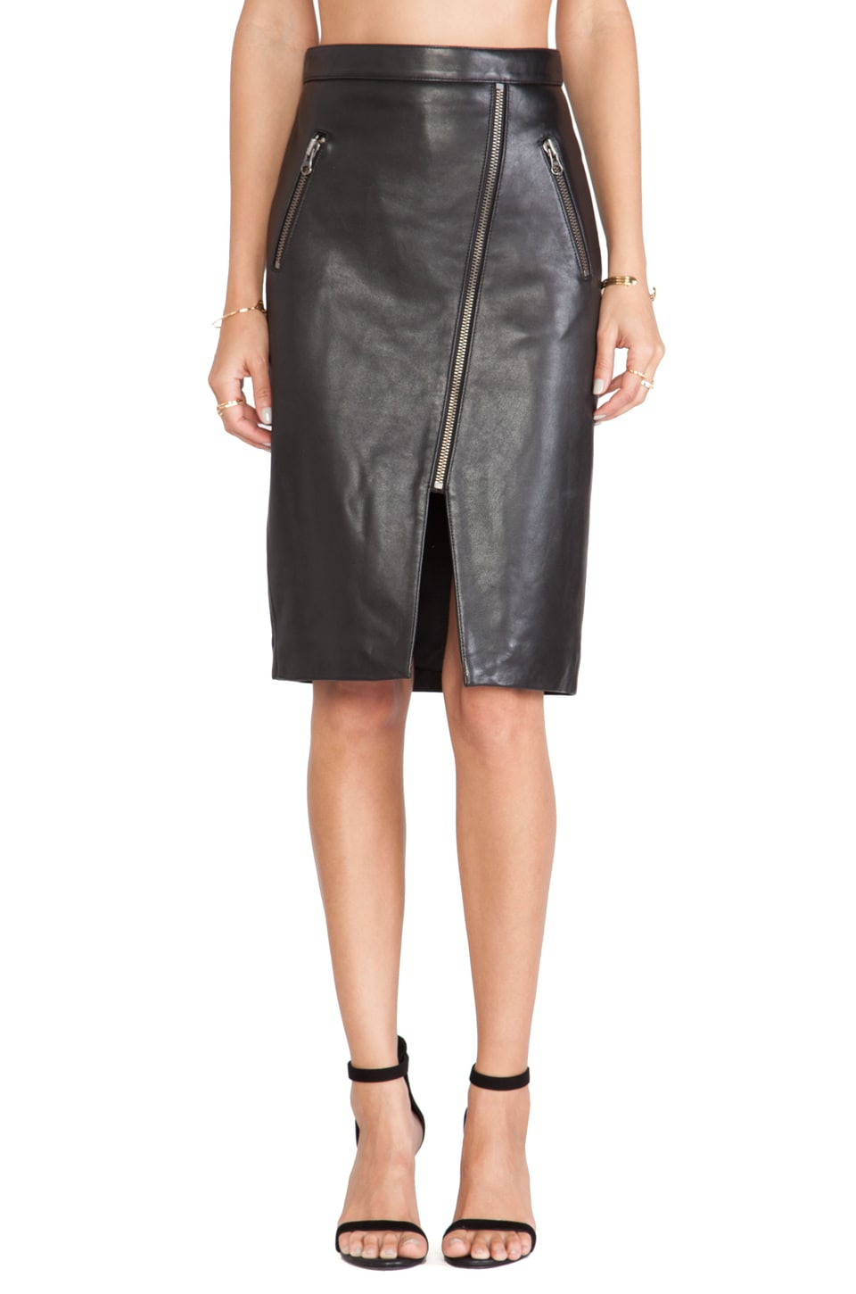 Michelle Mason Zippered Pencil Skirt in Black