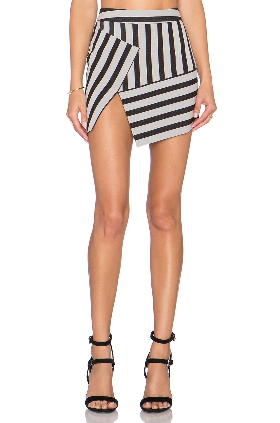 Michelle Mason Asym Mini Skirt in Black Stripe