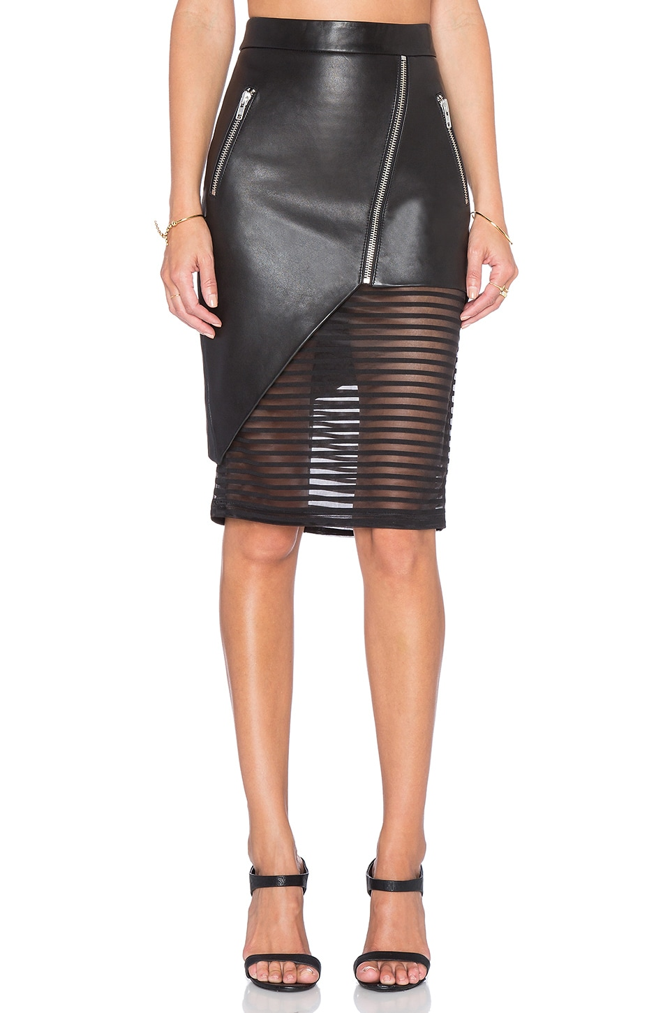 4e52d891d9 Michelle Mason Leather Skirt with Sheer Inset in Black | REVOLVE