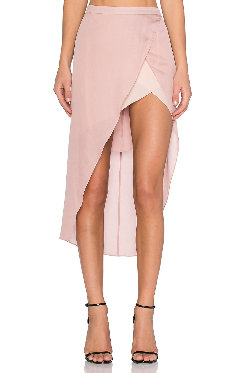 Michelle Mason Skirt with Contrast Slip in Blush
