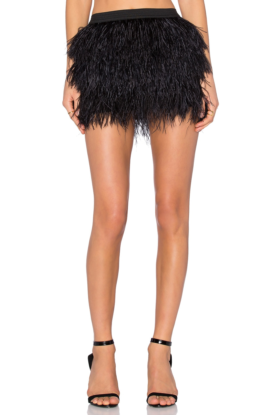Michelle Mason Feather Mini Skirt in Black