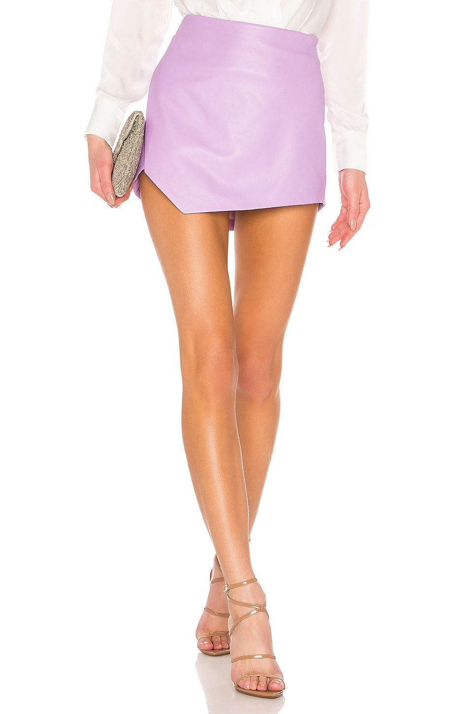 Michelle Mason Side Slit Leather Mini Skirt in Lilac