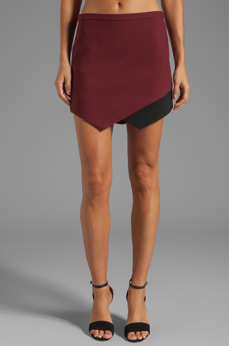Michelle Mason Contrast Hem Skirt in Wine/Black
