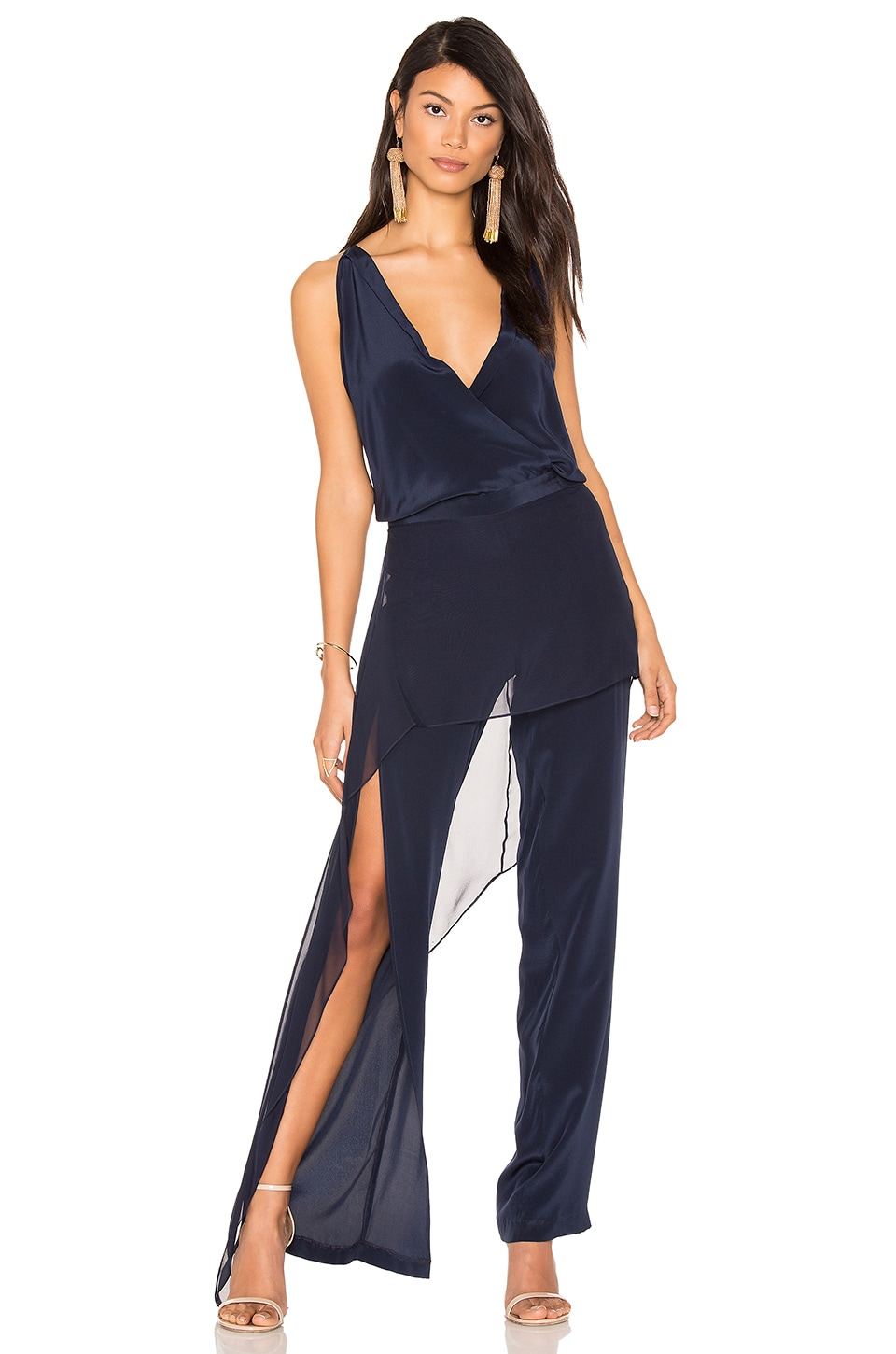 Michelle Mason Overlay Jumpsuit in Ink