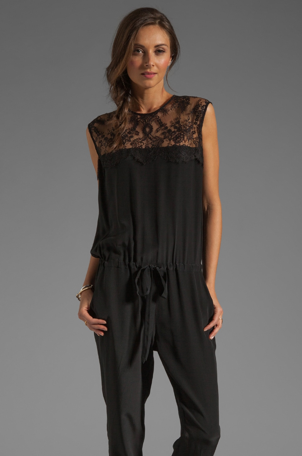 Michelle Mason Lace Inset Jumpsuit in Black