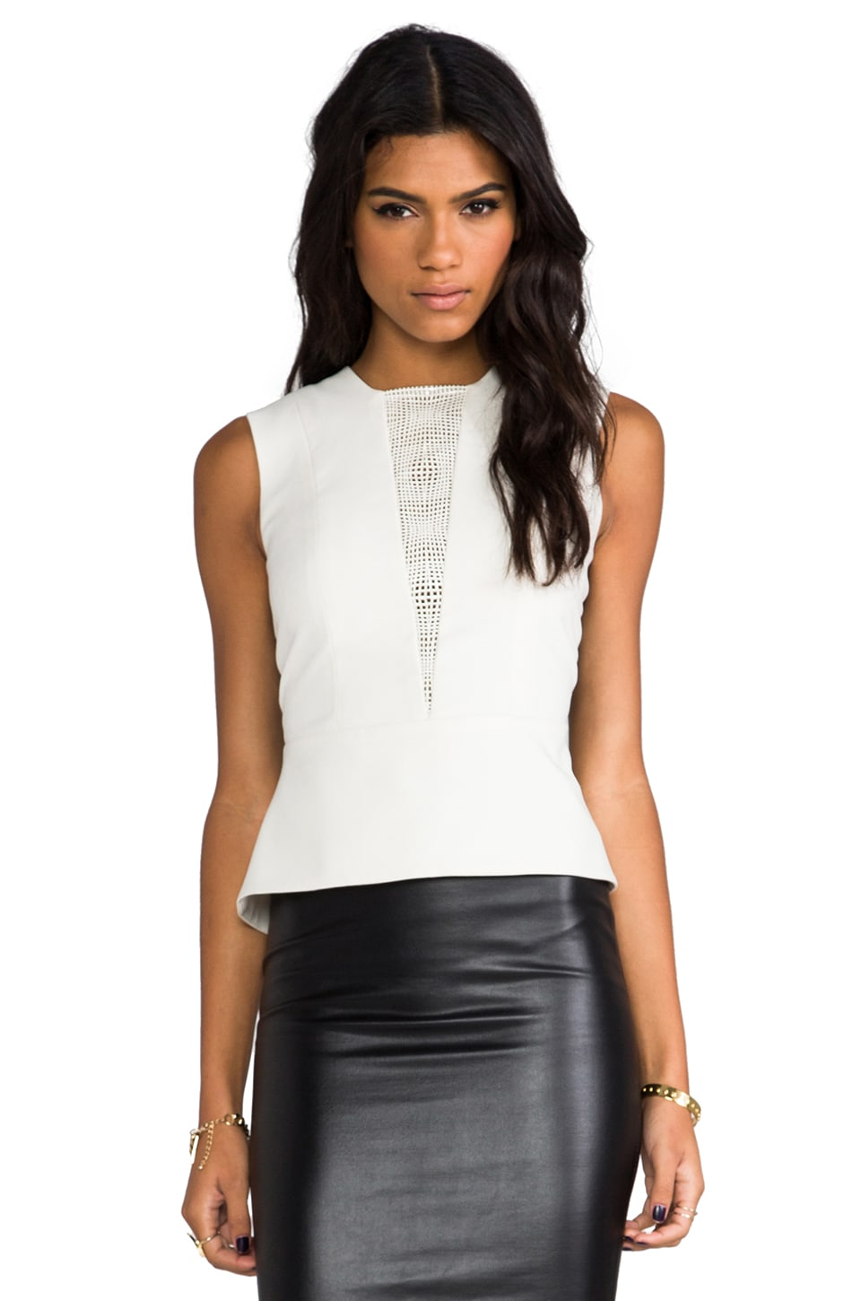 Michelle Mason Lazer Leather Peplum Top in Ivory