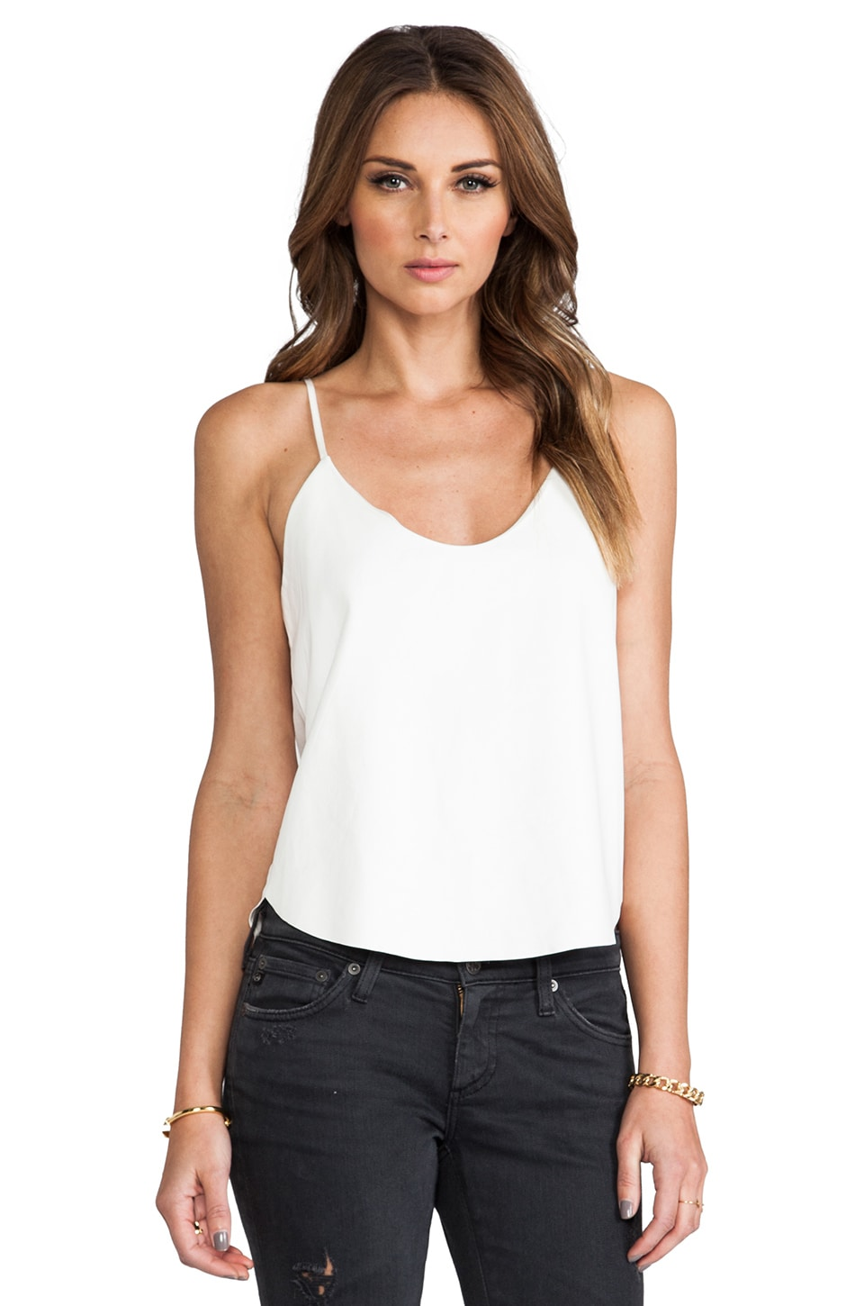Mason by Michelle Mason Crop Leather Tank in Ivory
