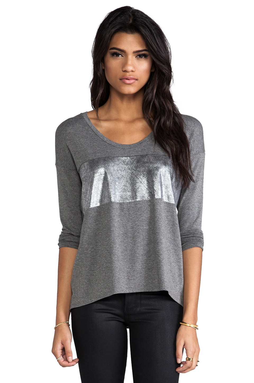 Michelle Mason Leather Bandeau Tee in Grey & Silver