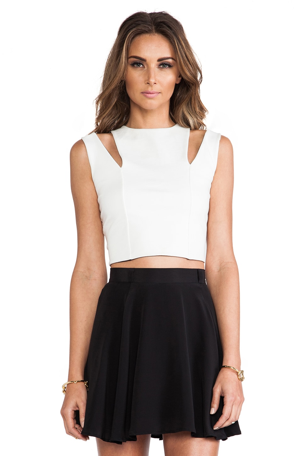 Michelle Mason Cut Out Crop Top in Ivory