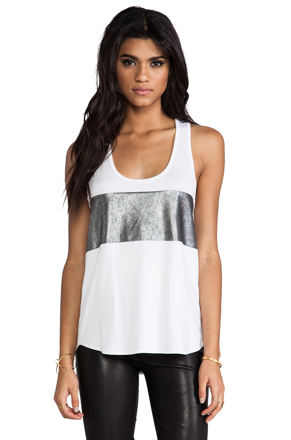 Michelle Mason Leather Bandeau Tank in Ivory & Silver