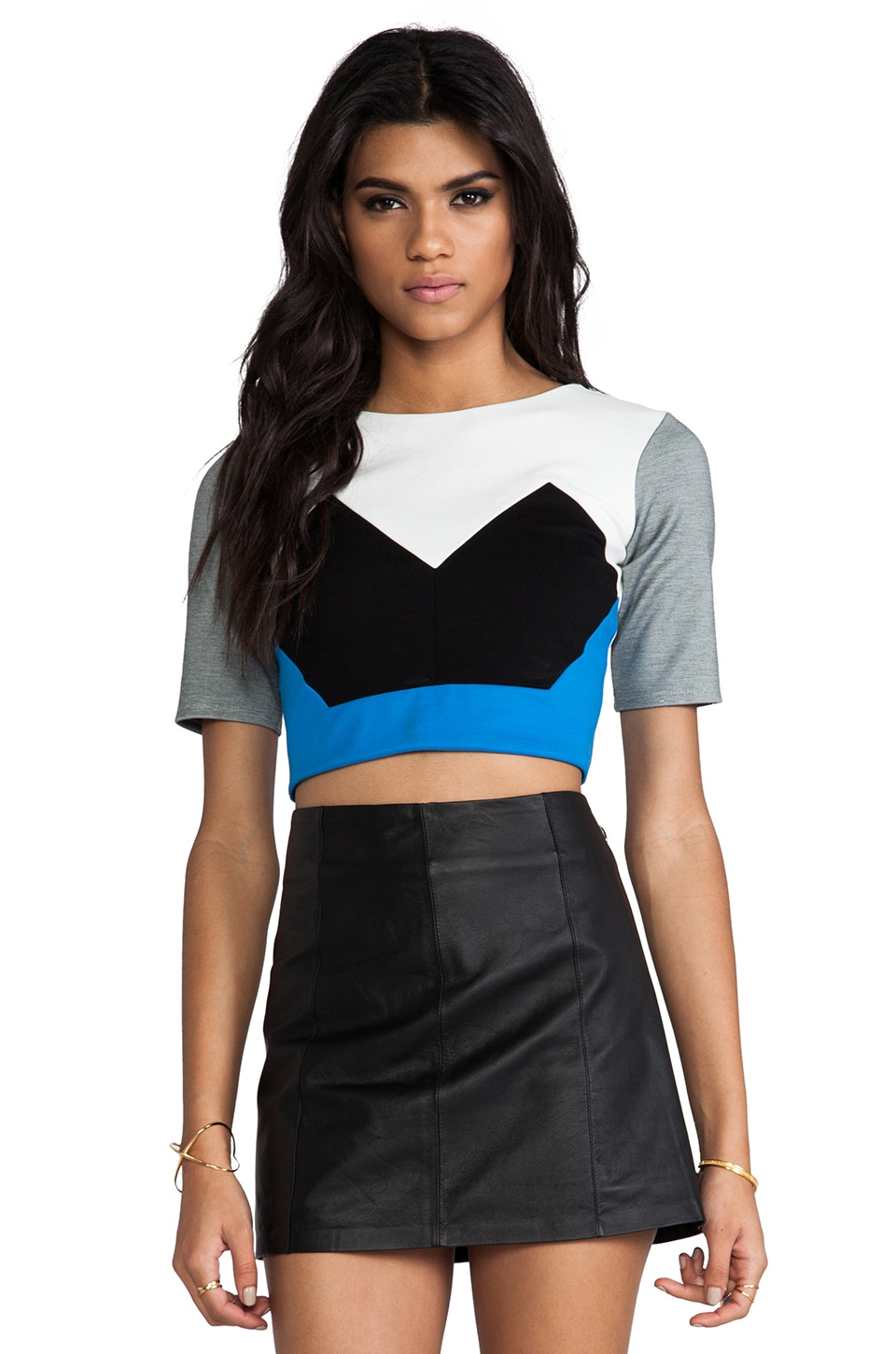 Michelle Mason Crop Top in Black Combo