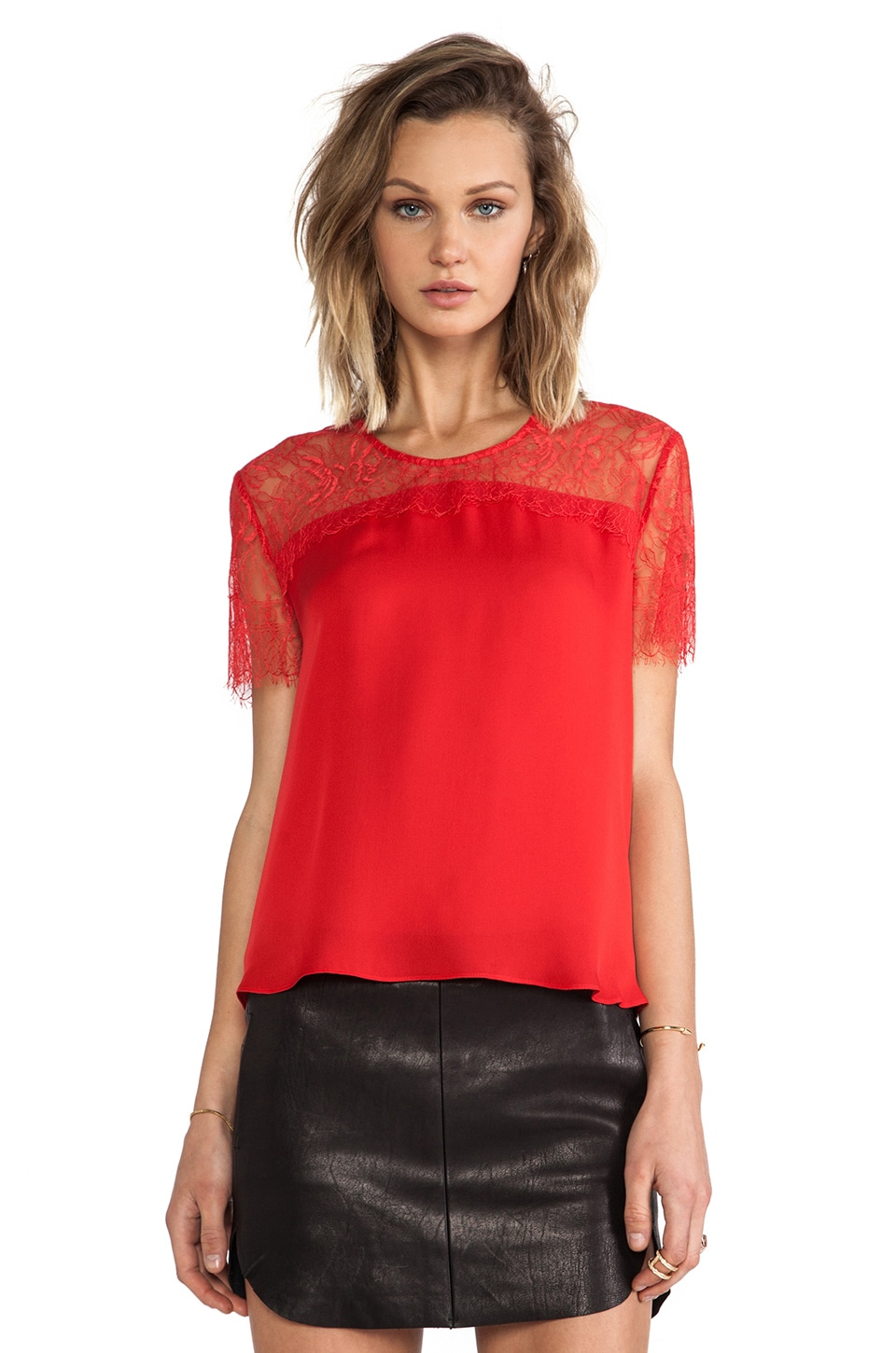 Michelle Mason Lace Yoke Tee in Red