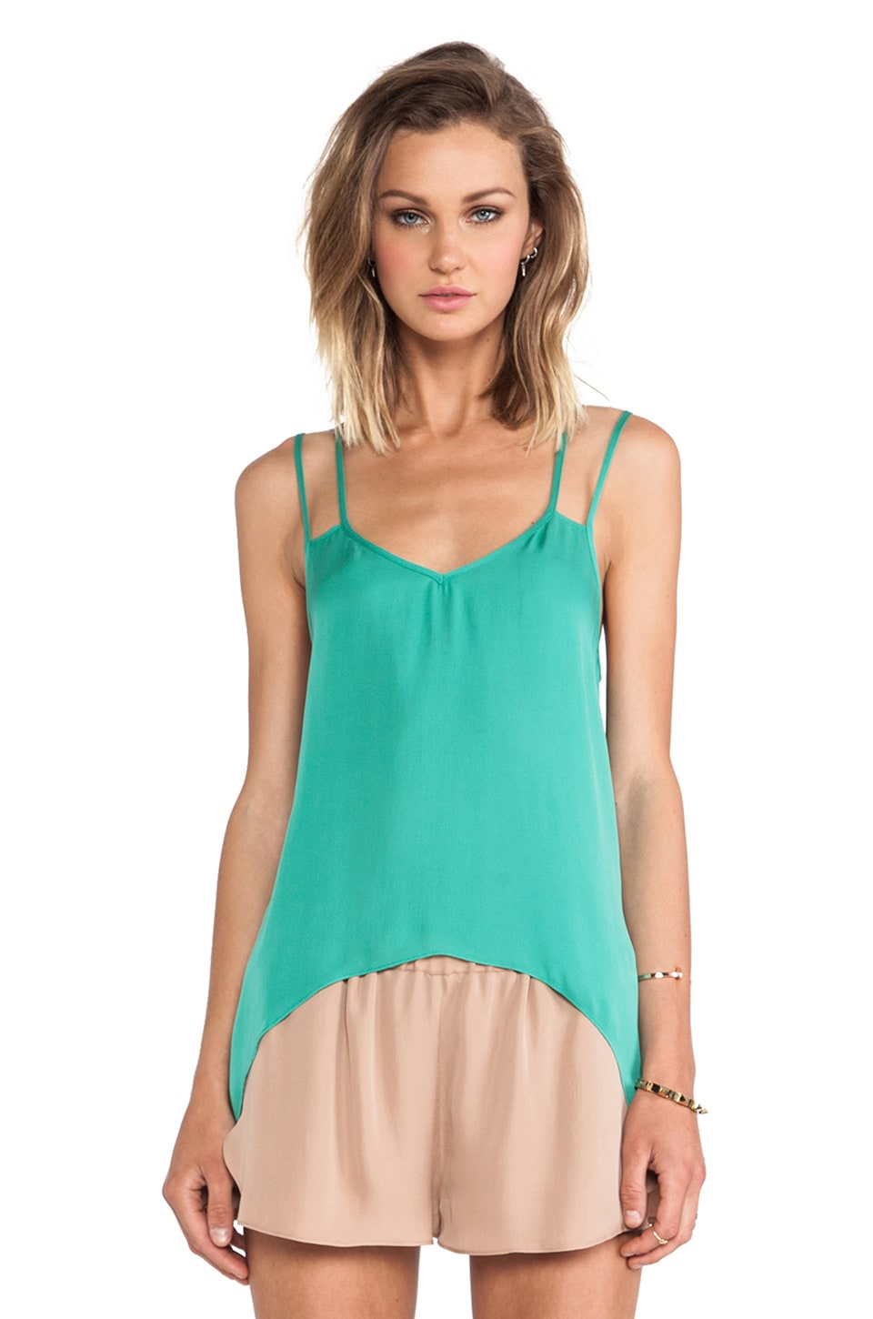 Michelle Mason Double Strap Cami in Jade