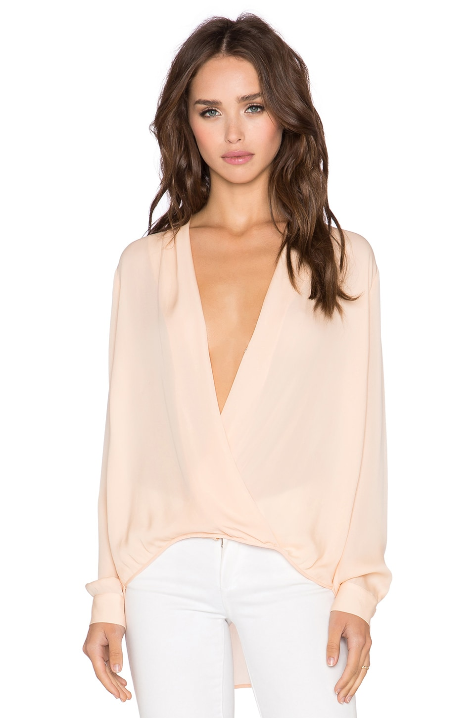 Michelle Mason x REVOLVE Wrap Blouse in Peach