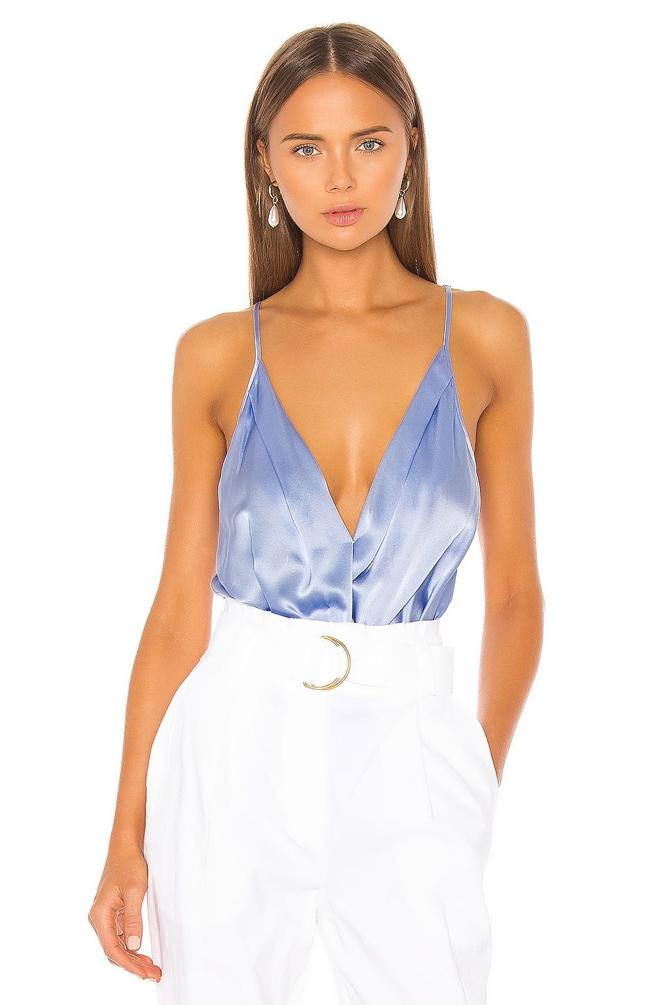 Michelle Mason Cami Wrap Bodysuit in Ice