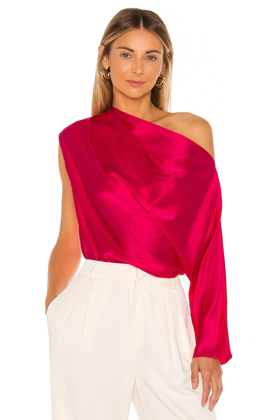Michelle Mason One Sleeve Draped Top in Peony