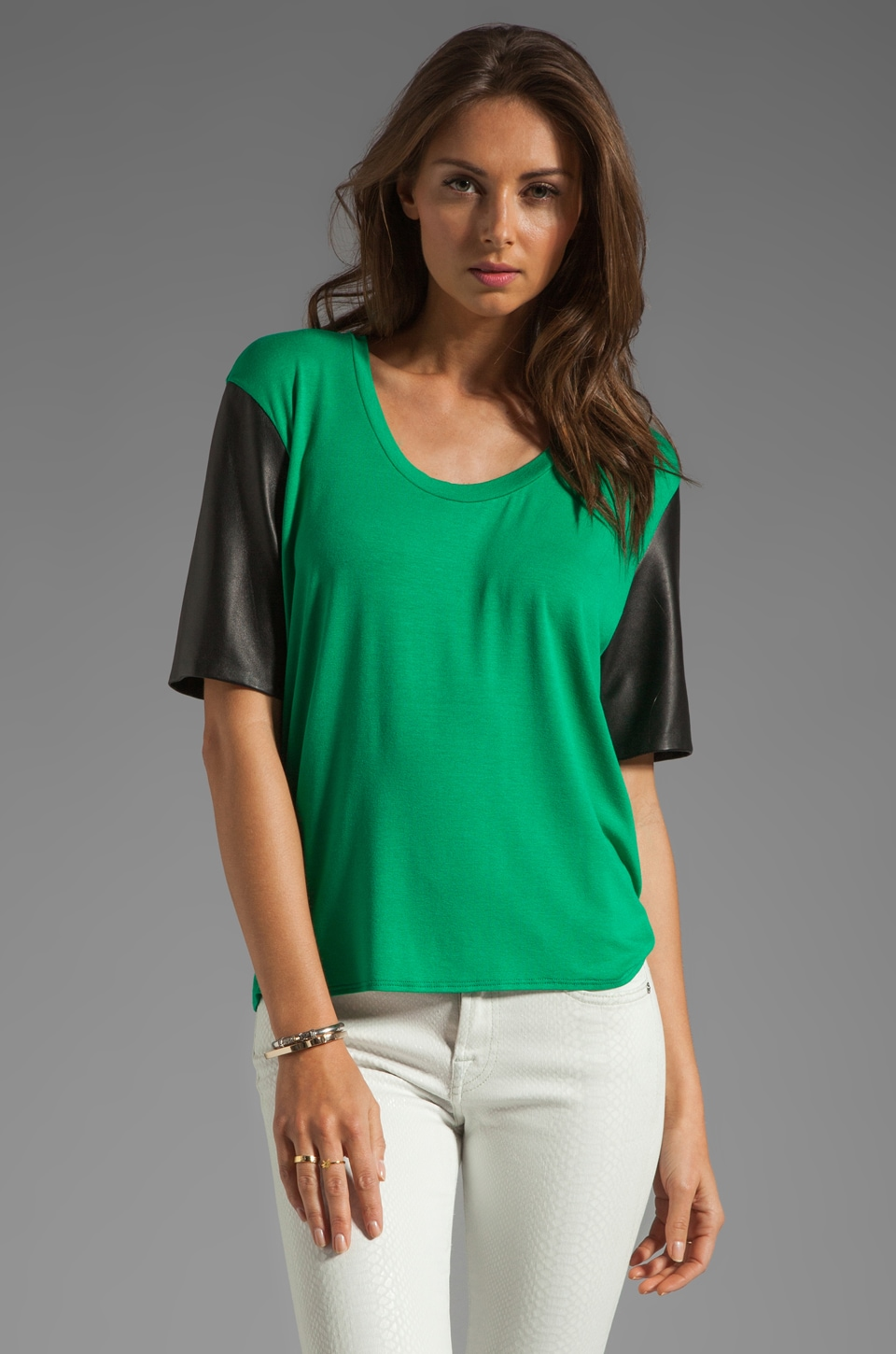 Michelle Mason Leather Sleeve Tee in Green