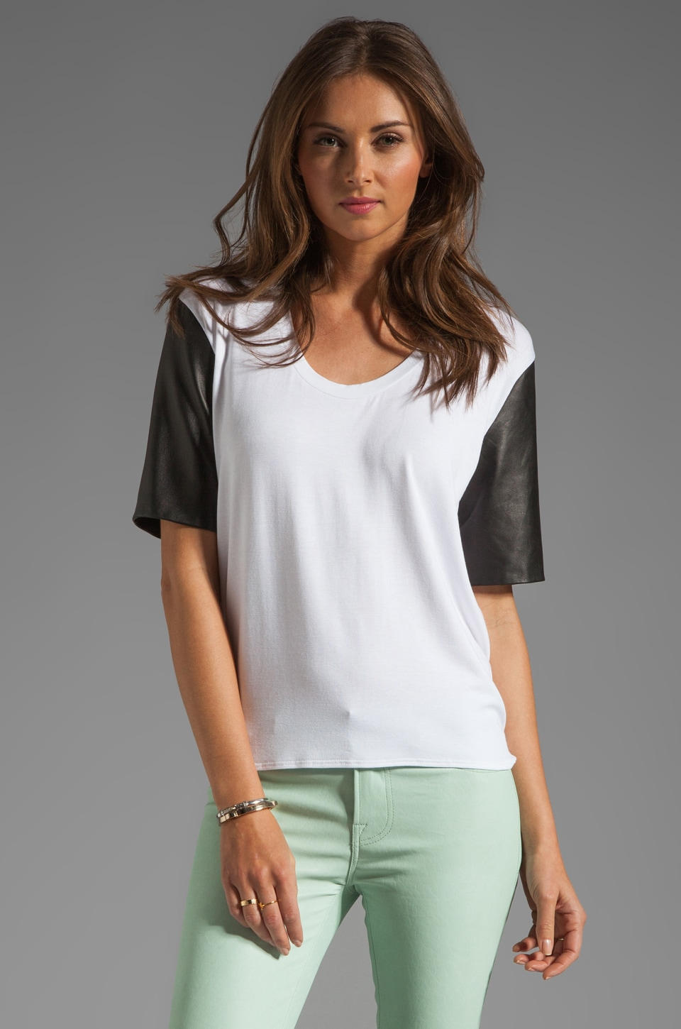 Michelle Mason Leather Sleeve Tee in Ivory