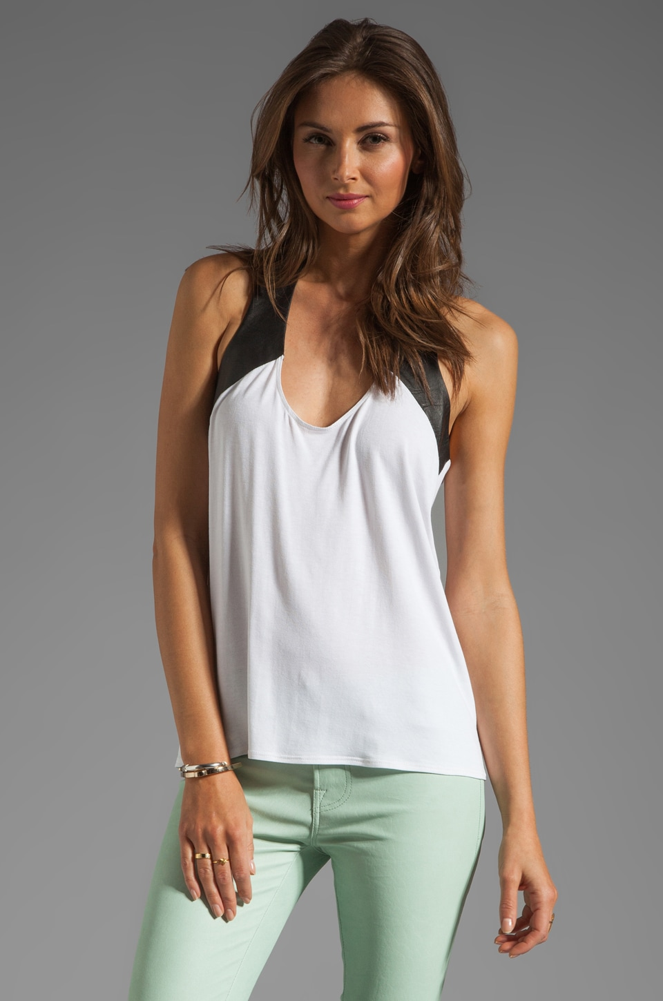 Michelle Mason Leather Trim Tank in Ivory