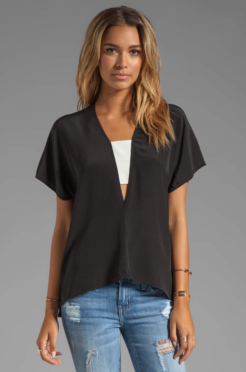 Michelle Mason Contrast Inset V-Neck Top in Black