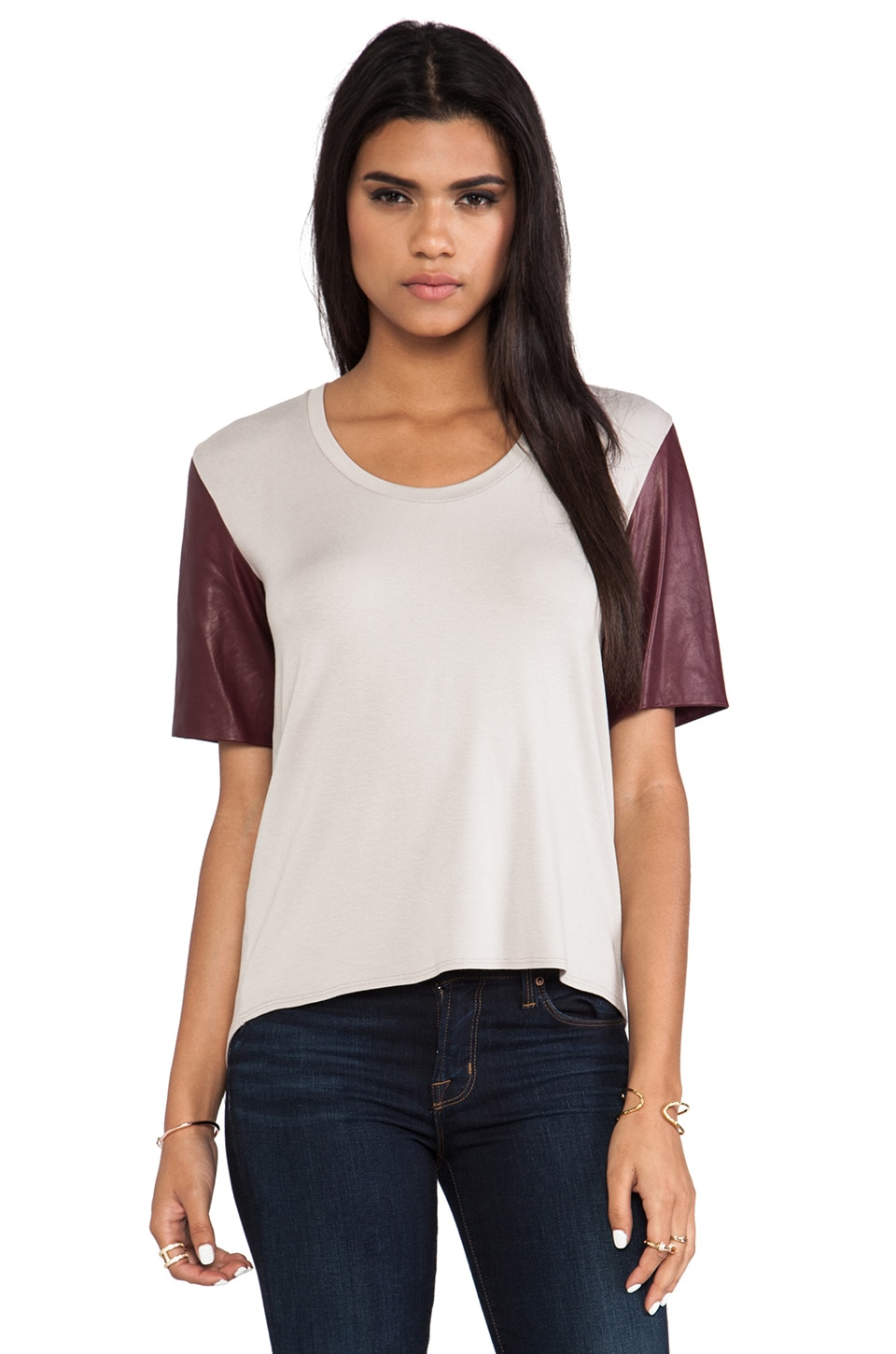 Michelle Mason Leather Sleeve Tee in Oyster/Wine