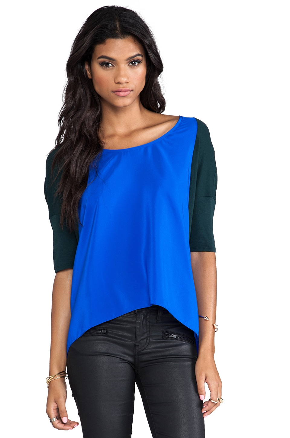 Mason by Michelle Mason Raglan Tee in Hunter/Cobalt