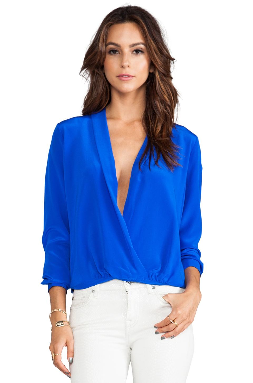 Michelle Mason Wrap Blouse in Cobalt
