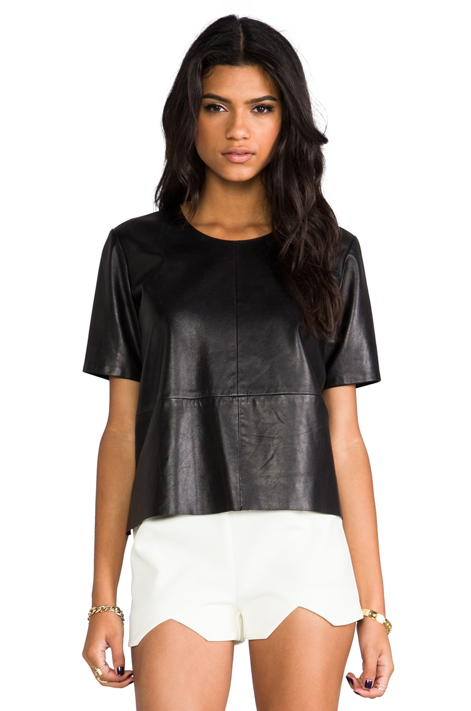 Michelle Mason Leather Tee in Black